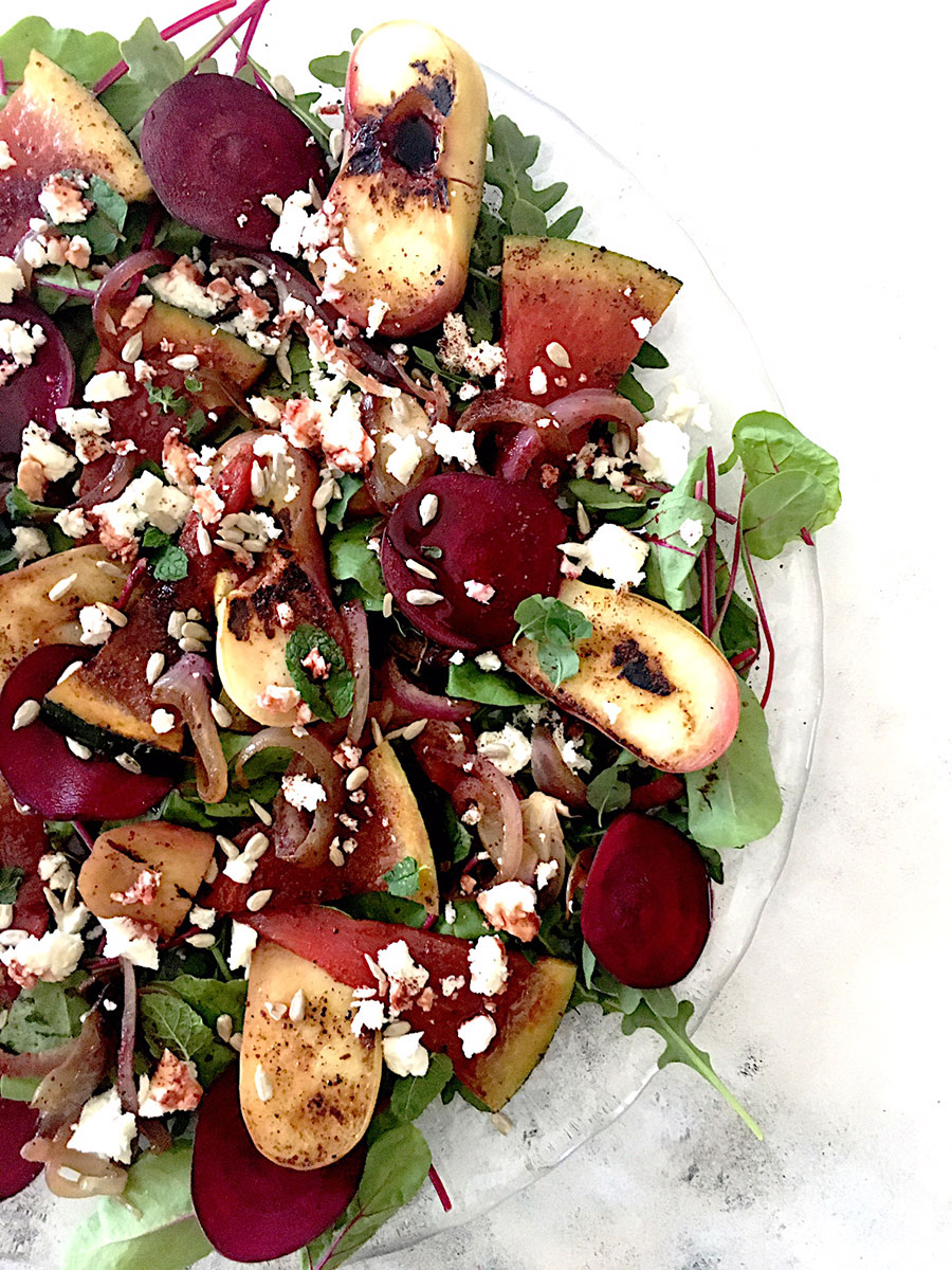 Grilled Flat Peach and Watermelon Salad, for sharing — Food to meet you.