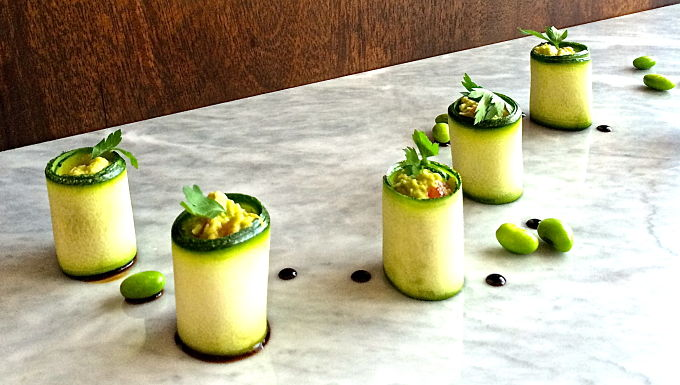 Raw Zucchini roll-up with guacamole! — Food to meet you.
